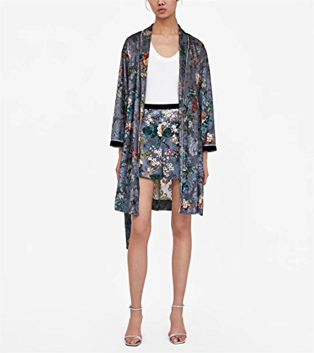 donna Large da Pantaloncini Floral Large Print Chic FuweiEncore Grigio Pantaloncini Leisure nTEIxnq
