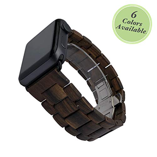 Authentic Hermes Leather Bracelet - Reclaimed By Nature Handcrafted Wood Band | Compatible with Apple iWatch 42/44mm Series 4/3/2/1, Nike (Sport), Limited and Hermes' (Black Sandalwood)