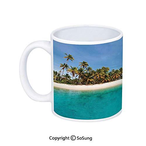 Island Coffee Mug,Stunning Tropical Island Blue Sky over Ocean Cook Islands Exotic Getaway Scenic,Printed Ceramic Coffee Cup Water Tea Drinks Cup,Turquoise Blue (Best Girlfriend Getaways 2019)