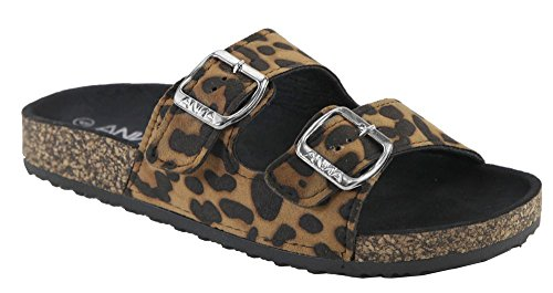Anna Women's Double Strap Cork Sole Slide Sandal with Buckle-100,Leopard,7.5