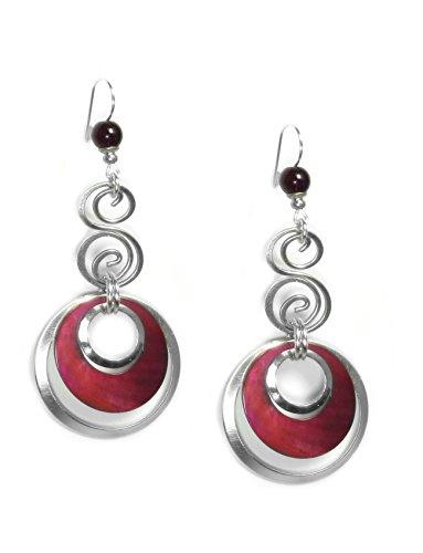 john-michael-richardson-silver-plated-pink-layered-hoop-earrings