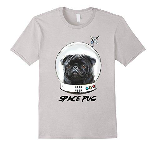 Mens Space Pug Blasts Off Astronaut Black Pug T-shirt XL Silver (Off Pug T-shirt)