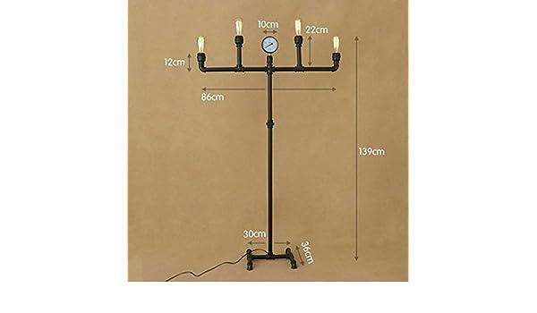 Floor DL Lámparas de pie Lámpara de pie Loft Creativo de Hierro Forjado lámpara de pie Estilo Industrial Retro Sala de Estar habitación Tubo de pie luz ...