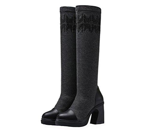 Hundraårsjubileum Kvinnor Kvadrat Hög Klack Boot Läder Och Elastisk Knä Hög Boot (grå / Svart) Grå