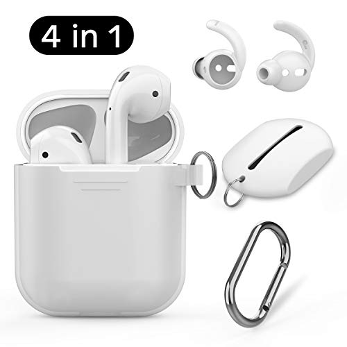 - AhaStyle AirPods Case Cover Silicone, 4 in 1 AirPods Accessories Set for Apple AirPods 2 & 1, Included AirPods Ear Hook, AirPods Staps, Carabiner and Pouch(Clear Case)