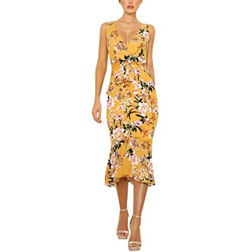 LYN Star ◈ Women's Wrap V Neck Spaghetti Strap Floral Split Beach Casual Dress Summer Bohemian Down Swing Midi Dress Yellow