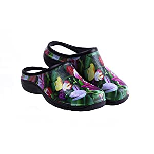 Waterproof Premium Garden Clogs With Arch Support-Tulip Design by Backdoorshoes Black 8 B(M) US