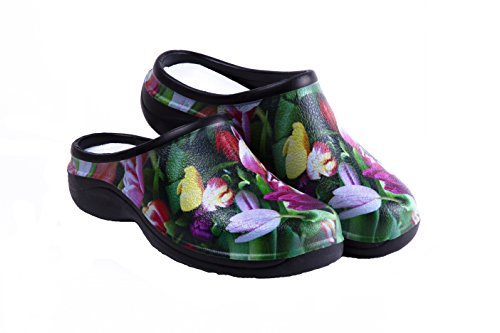 Waterproof Premium Garden Clogs With Arch Support-Tulip Design by Backdoorshoes  Black 8 B(M) US - Waterproof Womens Clogs