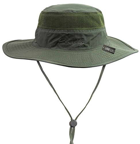 Camo Coll Outdoor Sun Cap Camouflage Bucket Mesh Boonie Hat (Army Green, One Size) -