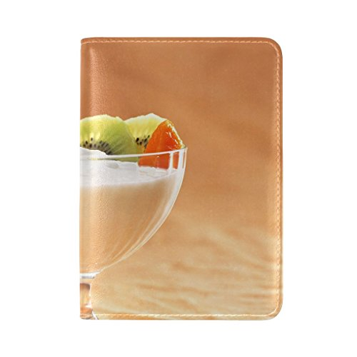 Sour Cream Berries Fruits Leather Passport Holder Cover Case Travel One Pocket