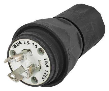 3w 2p Plug 15p (15A Watertight Locking Plug 2P 3W 125VAC L5-15P BK)