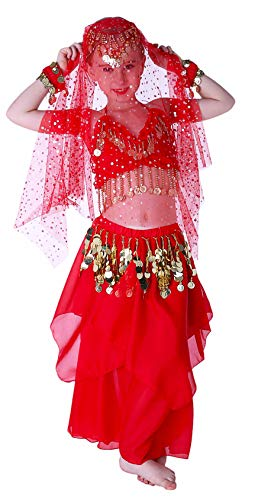Halloween Costumes for Girls Genie Costume Size 4T 4 5 6 7 8 10 12 14 16 Red]()