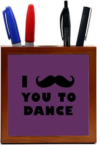 Rikki Knight I Mustache You To Dance Purple Color Design 5-Inch Tile Wooden Tile Pen Holder (RK-PH42948) by Rikki Knight