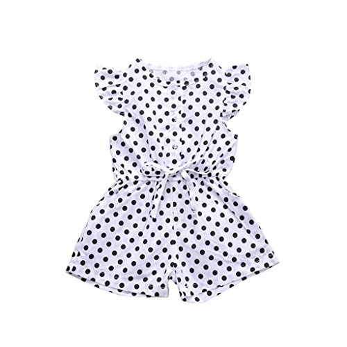 Putars Baby Girls Romper Dot Print Ribbons One-Piece Jumpsuit Kid Outfit Set White