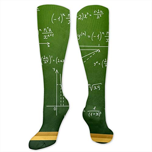 SARA NELL Knee High Socks Mathematical Equations and Formulas Chipboard Compression Socks Sports Athletic Socks Tube Stockings Long Socks Funny Personalized Gift Socks for Men Women