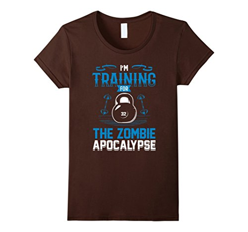 Apocalypse Themed Costume (Womens I'm Training For The Zombie Apocalypse Workout T-Shirt Medium Brown)