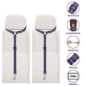 Lukovee Dog Car Seatbelt Headrest Restraint Seat Belt Straps, 2 Pack Dog Tether for Vehicle Adjustable Pet Safety Leads… Click on image for further info.