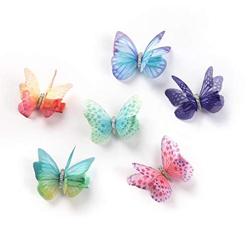Rosette Hair Colorful Chiffon Butterfly Modelling Hair Clips- Organza Wings Ribbon Wrapped Clips Sets (6pcs/set-2)