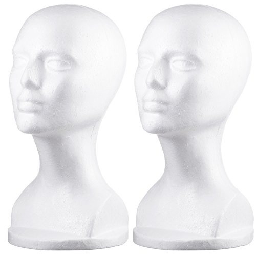 Dini Wigs Styrofoam Display Mannequin Head 13 Inch For Wigs, Hair Pieces, Hats and Accessories 2 Pack