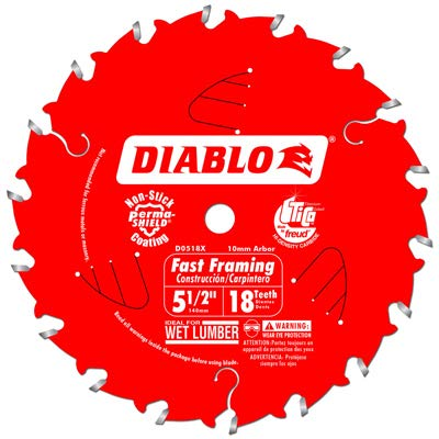 Freud D0518X Circular Saw Blade, Framing, 5-1/2-In. x 18T - Quantity 10