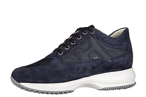 Hogan Womens Shoes Suede Trainers Sneakers Interactive Blu mZqTe4VM