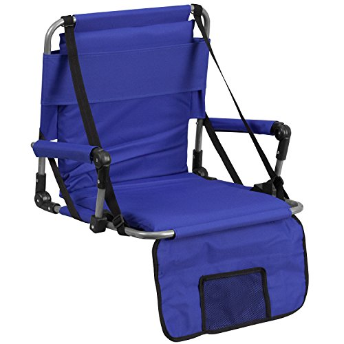 Flash Furniture Folding Stadium Chair in Blue Removable See Through Headrest