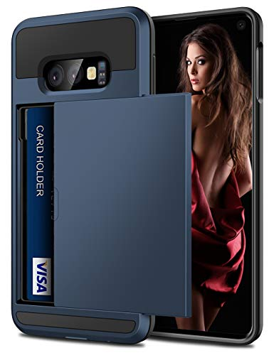 Dual Pocket Case - Vofolen Cover for Galaxy S10e Case Wallet Card Holder ID Slot Sliding Door Hidden Pocket Anti-Scratch Dual Layer Protective Hard Shell Rugged TPU Bumper Armor Case for Samsung Galaxy S10 E (Navy)