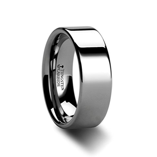 Thorsten Spartan Pipe Cut Flat Tungsten Carbide Ring - 7mm Wide Wedding Band with Custom Inside Engraved Personalized from Roy Rose Jewelry