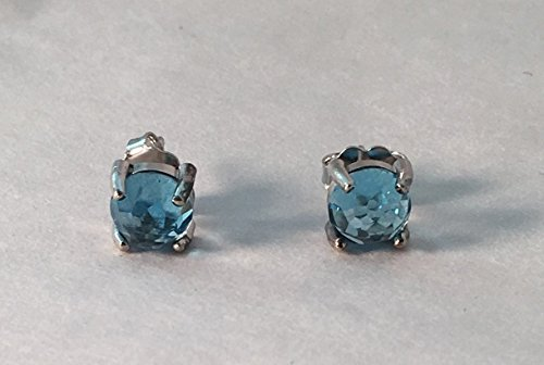 (14K White Gold Swiss Blue Topaz Stud Post Earrings)