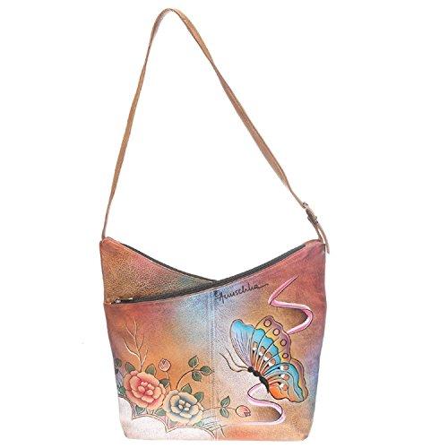 Anuschka Leather Women's V-Top Hobo Handbag, Premium Antique Rose, OS