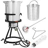 30 QT Aluminum Turkey Deep Fryer Pot and Gas Stove Burner Stand, 6 Pc Set