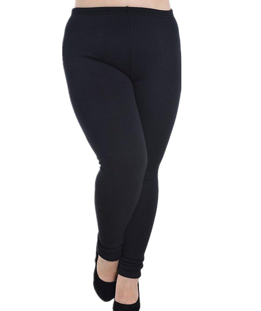 ColorFino Women's Plus Size Full-Length Fleece Lined Leggings