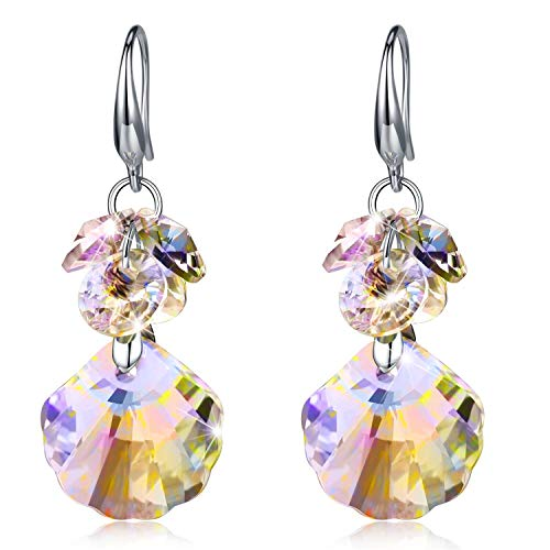 - Tacther.H Women Shell Swarovski Crystals Dangle Hook Earrings Sterling Silver Jewelry Gift for Her