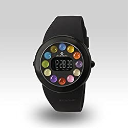 "Zerone Crossover 30METHING ""dot dot dot"" IP Black with 12 Colored Spheres Digital Watch"