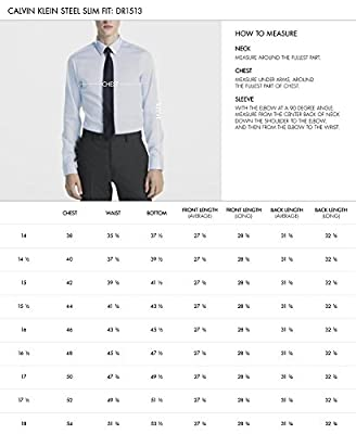 Calvin Klein Men's Non Iron Stretch Slim Fit Unsolid Solid Dress Shirt