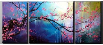 Sangu 100 Hand-painted Tree Blossom Oil Paintings Gift Modern Canvas Wall Art Paintings For Living Room.