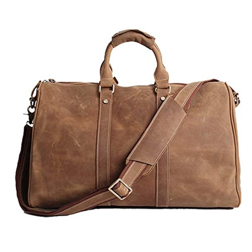 (AKGOO Real Leather Duffel Bags For Men Weekender Overnight Travel Carry On Luggage Bag Handbag Holdall Brown)