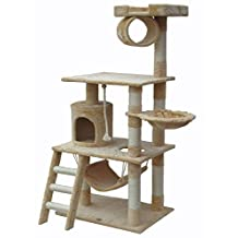 "iPet 56"" Cat Tree Condo Cat Furniture Scratching Post Pet House Cat Exercise Tree in Beige"