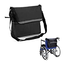 Walker Bags Wheelchair Pouch Backpacks Armrest Organizer Medical Accessories Storage Cover for Back of Chair - Fits Most Scooters, Rollators, Power & Manual Electric Wheelchairs (Back Bag-Black)