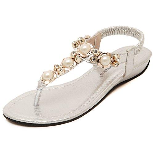 Scarpe Boemia BienBien Oro Moda Flip Infradito Eleganti Sandali Gioiello Donna Pantofole Bassi Flop xqn14Tq