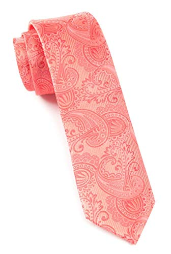 (The Tie Bar 100% Woven Silk Coral Twill Paisley 2 1/2 Inch Skinny Tie)