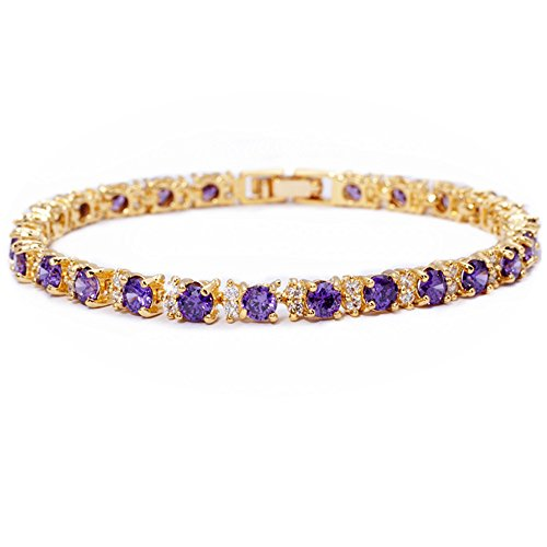 RIZILIA Eternity Tennis Bracelet & Round Cut CZ [Simulated Purple Amethyst] in Yellow Gold Plated, ()
