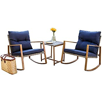 Astounding Suncrown Outdoor Rocking Chair 3 Piece Patio Bistro Set Grey Wicker Patio Furniture With Wood Grain Arm Rest Two Chairs With Glass Coffee Table Ibusinesslaw Wood Chair Design Ideas Ibusinesslaworg