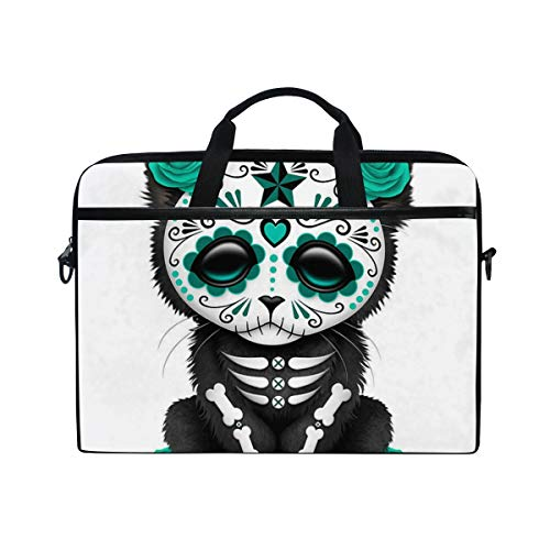 Day of Dead Kitten Waterproof Shoulder Bag, MacBook Air Bag Carrying Handbag Laptop Bag with Crossbody Belt for Men Women ()