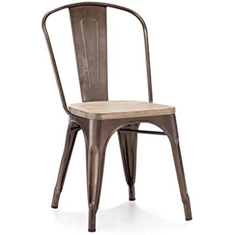 Design Lab MN Dreux Elm Wood Side Chair Set Of 4 Rustic Matte Light Wood