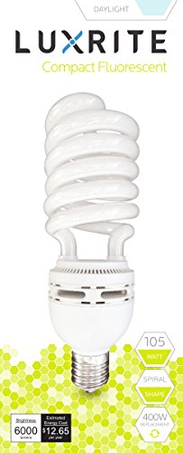 Luxrite LR20230 (6-Pack) 105-Watt High Wattage CFL Spiral Light Bulb, Equivalent To 400W Incandescent, Daylight 6500K, 6000 Lumens, E39 Mogul Base by LUXRITE