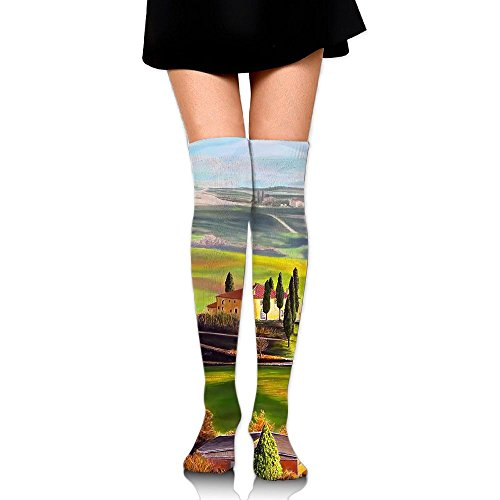 Mountains Building With Plants Over The Knee Long Socks Tube Thigh-High Sock Stockings For Girls & Womens -