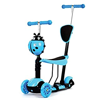 5-in-1 Scooter. Kids toddler adjustable scooters w/flashing wheel. 3 (three) wheeled scooter with seat. My first birthday gift for kid children boys girls toddlers 1/2-6 age years old. Monopatin. Blue