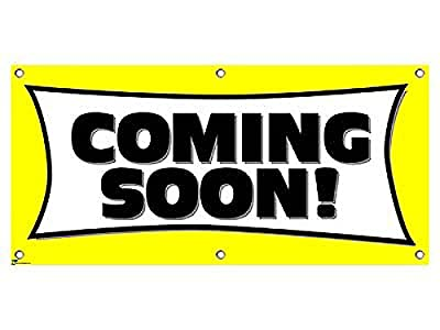 """Graphics and More Coming Soon Yellow - Restaurant Store Sign Banner - 46"""" (width) X 22"""" (height)"""
