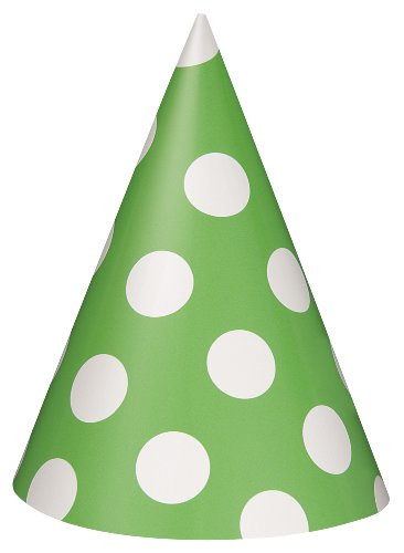 Lime Green Polka Dot Party Hats, 8ct (Polka Dot Party Hat)